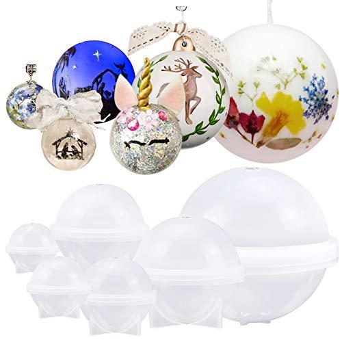 musykrafties Sphere - Molde Redondo de Silicona para Resina epoxi, joyería, Cera de Vela, jabón casero, Bomba de baño, Assorted 6 Globes (Separated Cup) 0.8-4inch