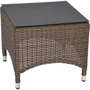 Table d'appoint de jardin en treillis doppelrund soho marron - 50 x 50 x 44 cm-plateau en spraystone