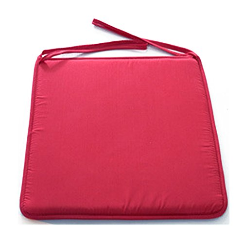 Lumpur Stuhlpolster, quadratisch, für Esszimmerstühle, Schaumstoffkissen, zum Anbinden, für Garten, Terrasse, Küche, Esszimmer - 40 x 40 cm (40 x 40 cm, Rot)