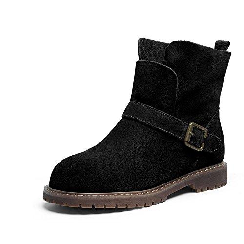 HAIZHEN  Stivaletto Stivali da donna Biker Ladies Casual Flat Boots Beige Nero Marrone 0.99 in (2.5cm) Per 18-40 anni ( Colore : Nero , dimensioni : EU39/UK6/CN39 ) Marrone
