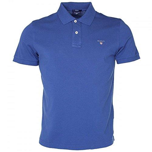 Blue Knit Polo Shirt (GANT Herren The ORIGINAL Pique SS Rugger Poloshirt, (Yale Blue), XL)