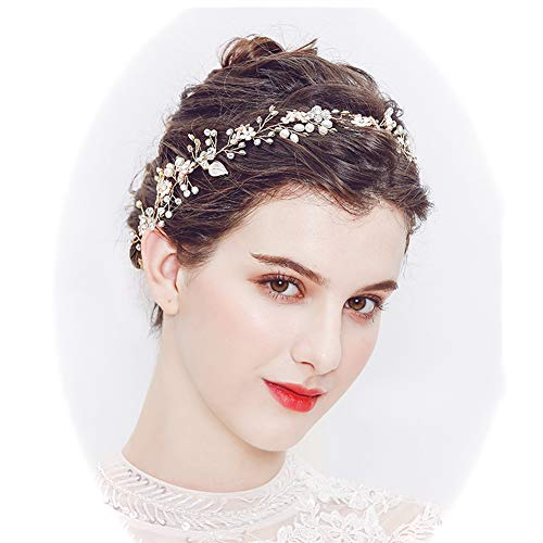 ut Haarschmuck Strass Haarband, Kopfbedeckung Kristall Hochzeit Stirnbänder Krone Diadem Romantisch Tiara Accessoires,Yellow ()