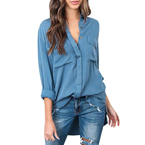 DOFENG Damen T Shirt Bluse Sweatshirt Damen Lange Ärmel Herbst Mode Locker Retro Volltonfarbe Taste Tasche Lässig V Hals Shirt Pullover Oberteil Tops (Blau, Small)