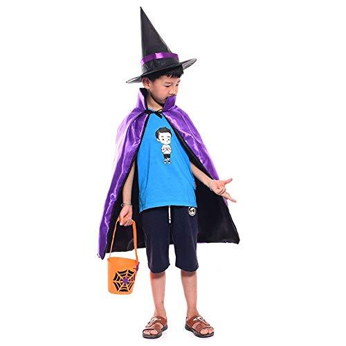korative Accessoires Halloweenkostüm Zauberer Hexe Umhang Karneval Fasching Kostüm umhänge Zauberer Cape mit Hut für Kinder für Frauen Männer ( Color : Purple , Size : 60*90cm ) ()