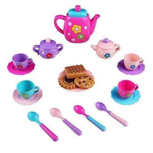 (Teeservice Kaffeeservice Kinder Mini Tee Set Spielzeug Puppengeschirr Kunststoff Tee Party Set Kinder Rollenspiele Kinderküche für Mädchen Jungs 3 Jahre alt)