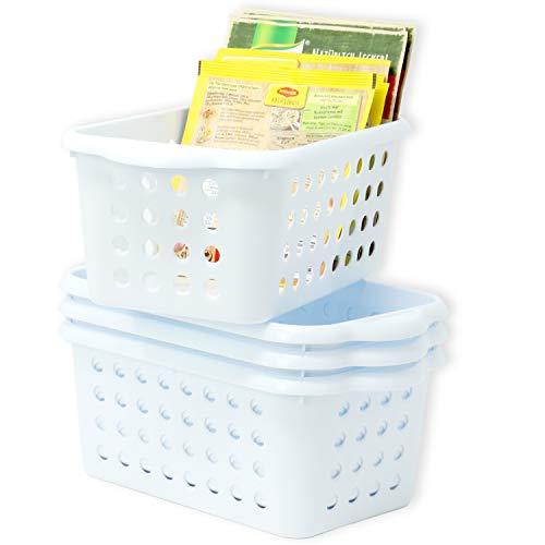 Hausfelder ORDNUNGSLIEBE Kleiner Aufbewahrungskorb für Küche Bad - 4er Set - Kunststoff Aufbewahrungskörbe - Vielzweck Haushalstkörbe (4er Set/Weiß)