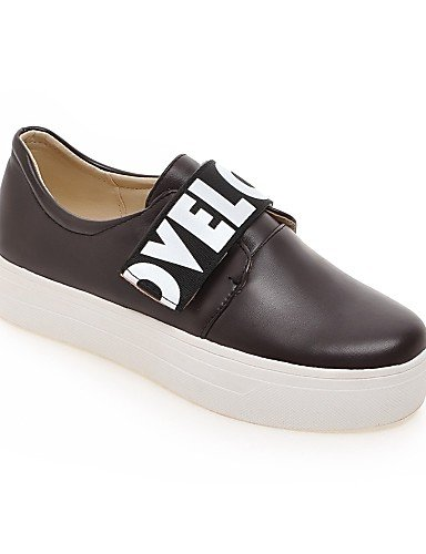 ZQ gyht Scarpe Donna-Mocassini-Casual-Punta arrotondata-Plateau-Finta pelle-Nero / Marrone / Bianco , brown-us8 / eu39 / uk6 / cn39 , brown-us8 / eu39 / uk6 / cn39 brown-us5 / eu35 / uk3 / cn34