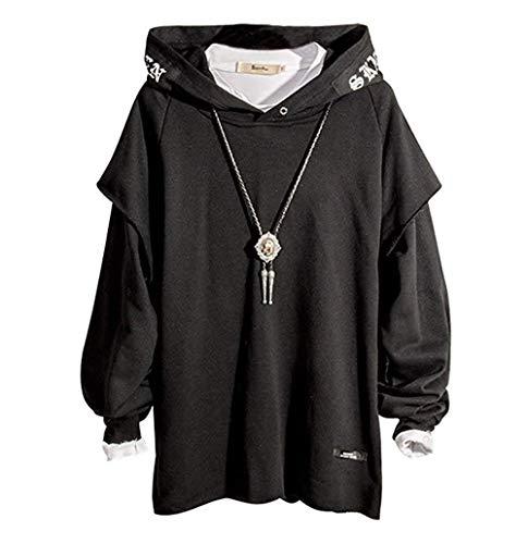 XIAOYAO Herren Kapuzenpullover Long Sleeve Sweatjacke Pullover Hoodie (L, Schwarz)