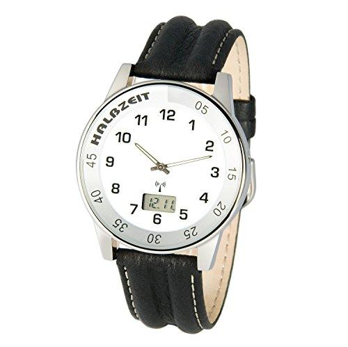 MARQUIS Herren Funkuhr, HALBZEIT, Lederarmband, Gehäuse aus Edelstahl, Armbanduhr, Junghans-Uhrwerk 964.6029