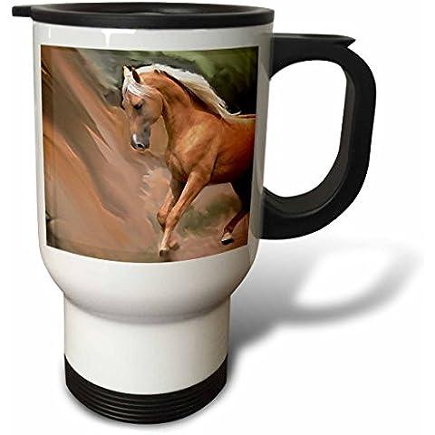 3dRose tm_4799_1 Peluche, Palomino il cavallo, Tazza da viaggio, 14 g, in acciaio INOX