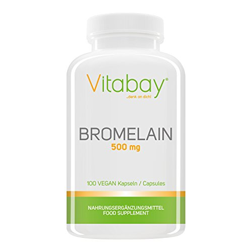 Bromelain 500mg 1200 F.I.P, natürliches Ananasenzym, Hochdosiert - 100 Vegane Kapseln (1200 Natürliche)