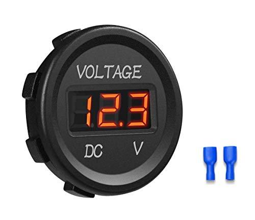 YGL 12-24V Impermeable DC Voltímetro Pantalla Digital Led para Coche Motocicleta Camión Barco (Rojo)
