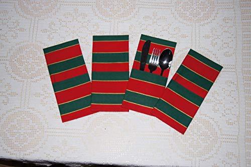 Bestecktaschen, rot-grün, Weihnacht, 4 Stück im Set, Nr. 849 -