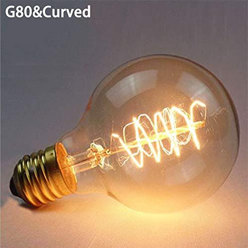 Preisvergleich Produktbild 40 W E27 Stiftschraube Kugel Licht Dekoration Filament Lampe Edison Vintage Retro Glühbirne Glas G80&Curved