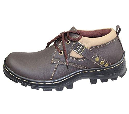 Pour Garçons en cuir doux Confort Décontracté Bottes dentelle plat jusqu'Randonnée Chaussures New 1013 Marron