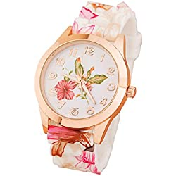 Koly Women's Girls Watch Silicone Printed Floral Causal Quartz WristWatches