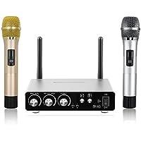 Excelvan K28 - Professionelles Funkmikrofone Set mit 2 Handmikrofon x 1 Mikrofon Empfänger (Voll Metall, 25 Kanäle, UHF, Bluetooth, Für Familienunterhaltung, Kareoke KTV, Bar, Party, Konferenz, Schule) (GOLD)