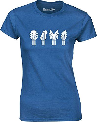 Brand88 - Guitar Heads, Gedruckt Frauen T-Shirt Königsblau/Weiß