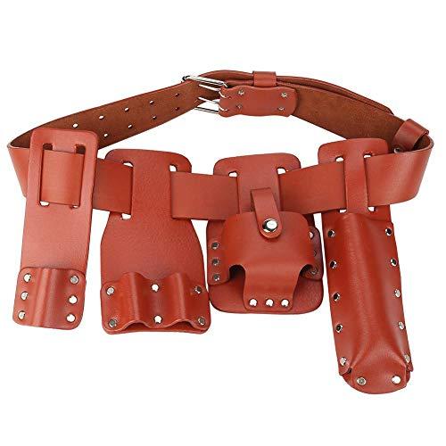 Wocume 5in1 Cuero Herramienta Cinturón Bolsa Andamio Herramienta con portaherramientas para Llaves de Nivel Martillo