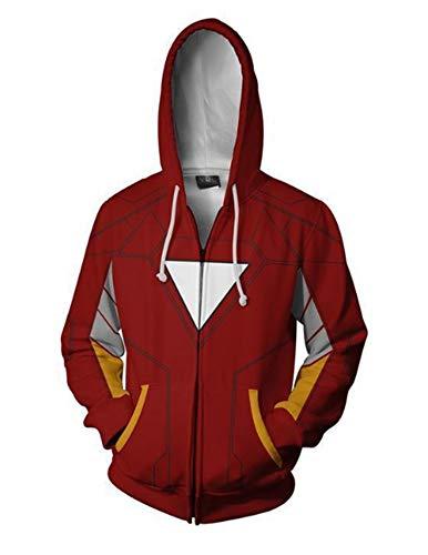 Kapuzenpullover,Marvel Iron Man Avengers 4,3D-Digitaldruck Unisex Reißverschluss Pullover Film Rollenspiele Kinder Neuheit Kleidung,S,rot (Neuheit-film)