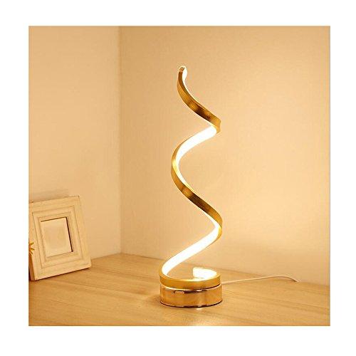 Erwa Smart Acryl Spirale LED Tischleuchte Curved LED Schreibtischlampe Zeitgenössische Minimalistische Beleuchtung Design Warmweiß Licht 24W,Gold,Warmlight -