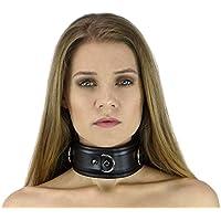 (Verschiedene Farben) BDSM Halsfessel Bondage Halsband gepolstert und abschließbar (schwarz)