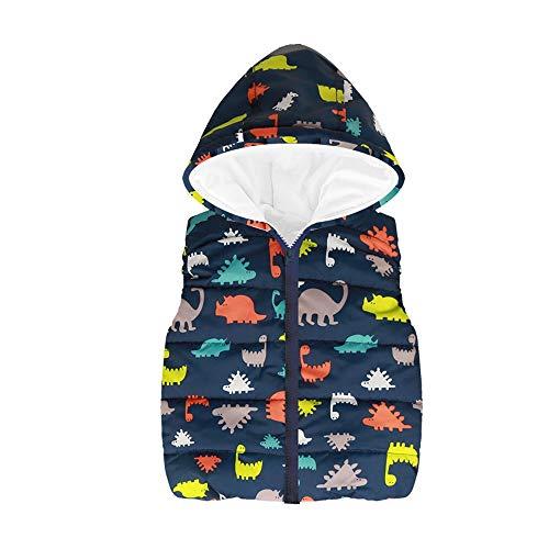 Kobay Kleinkind Kinder Mädchen Jungen Ärmellos Gedruckt Kapuze Reißverschluss Warme Weste Jacke(3-4T,Marine) -