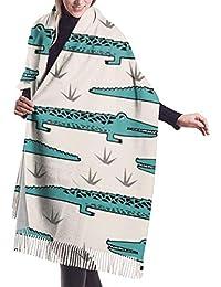 Bufandas clásicas de animales de cocodrilo, acogedora capa de chal de cachemira con tacto de pashmina para mujeres y niñas