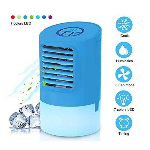 MuMa Tragbarer Luftkühler - Klimaanlage, Tischventilator, Klimaanlage for das Home Office, Timer 3-Gang (Color : Blue) -