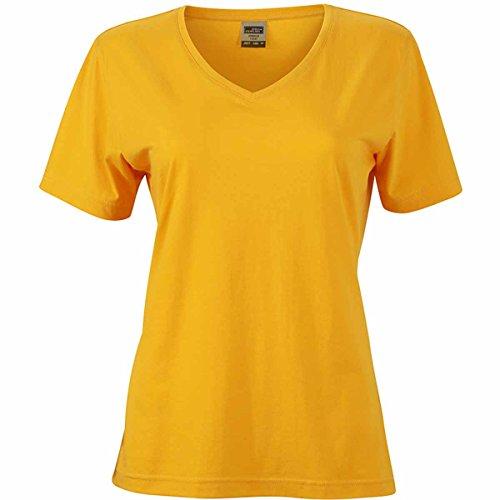 JAMES & NICHOLSON Damen T-Shirt, Einfarbig jaune d'or