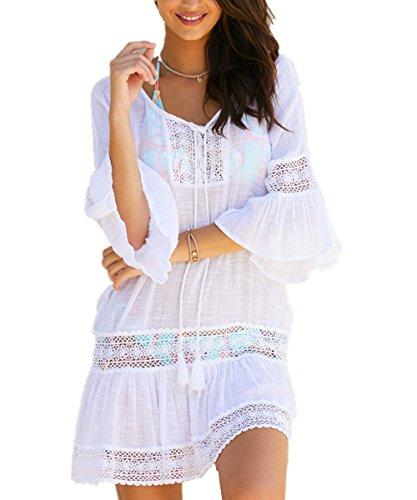 L-Peach Damen Spitze V-Ausschnitt Tunika Sommer Pareo Bikini Cover Up  Strandkleid Sommerkleid a6f184110b