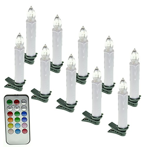 SAILUN® RGB Bougies LED sans Flamme -Longue Bougies de Chandelier -avec Télécommande Photophores Dimmable LED pour Décoration de Noël, Mariage, Anniversaire, Fête (10 pièces)