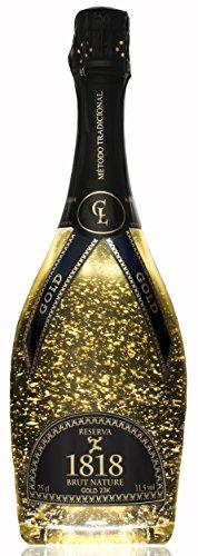 Champagner Geschenk 1818 - Special Gold Cuvée Brut Reserve Nature - 23-Karat Blattgold - Original Frau Luxus Geschenkideen - Traditionellen Champenoise-Methode - Reserve 30 Monate Gealterter - Einzigartiger Geschmack - Ohne Geschenkverpackung