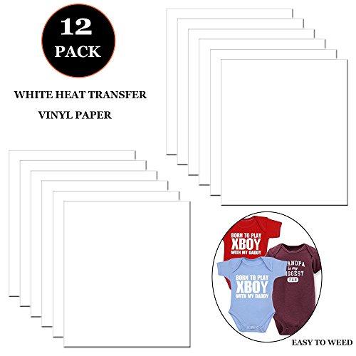 starvast Heat Transfer Papier, Set 12Blatt weiß HTV-Vinyl-paper-iron auf HTV Vinyl Tabelle für Regal Silhouette Cameo, Cricut und Wärme Press (Größe: 30,5x 25,4cm)