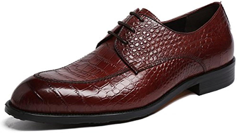 GRRONG Zapatos De Cuero De Los Hombres De Cuero De Vaca Banquetes Acentuadas