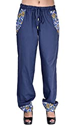 Indi Bargain Solid Cotton Blue Womens trendy trousers (306Blue)