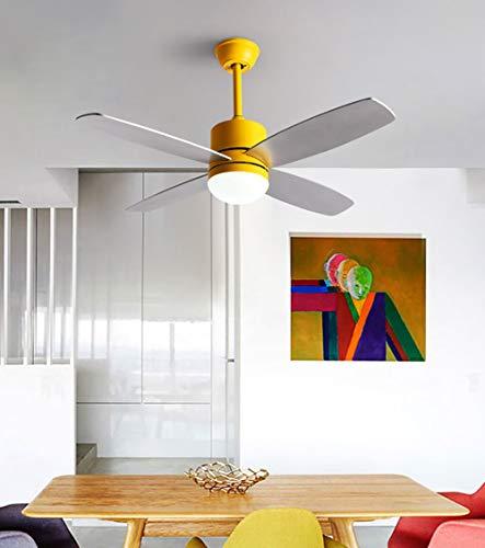 Jinjin Luce del Ventilatore da soffitto Invisibile Soggiorno Moderno e Minimalista Camera da Letto Sala da Pranzo Ventilatore a soffitto con LED Ventilatore Elettrico lampadario casa Fan Light,Yellow