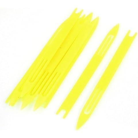 10 piezas de plástico amarillo red de pesca de la aguja de reparación Traslados bobina 5 #