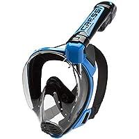 Cressi Duke, Maschera Integrale Grande Visione Snorkeling con Tubo Dry Unisex Adulto, Nero (Black/Blue), M/L