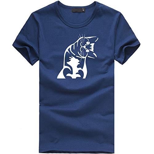 Frauen-Mädchen-lustige Kurzarm-Mond-Katzen-Druck-Punk-gotische Spitzenblusen-T-Shirt Ms. Gothic Moon Phase Hexerei Cat Print Punk Harajuku Kurzarm Lässiges ()