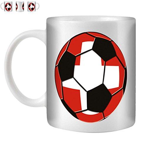 STUFF4 Tee/Kaffee Becher 350ml/Schweiz/Fußball Flagge/Weißkeramik/ST10