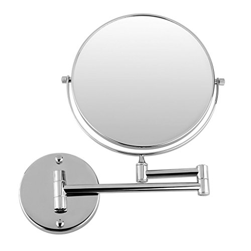 Schwenk-chrom-basis (Gleader Chrome Rund 8 Zoll Wandspiegel Schminkspiegel Kosmetikspiegel zweiseitig 7X Vergroesserung Zoll Spiegel)