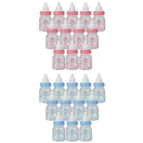 Generic Lot de 24pcs Petite Bouteille de Bonbons Forme de Biberon Cadeau Décoration pour Fête de Naissance - Bleu et Rose