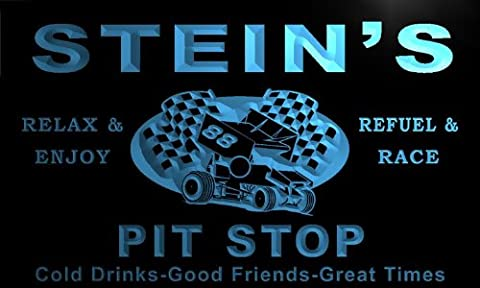 pu1832-b Stein's Pit Stop Car Racing Bar Beer Neon Light Sign