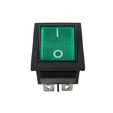 Green Light 4 Pin DPST ON/OFF Snap in Rocker Switch