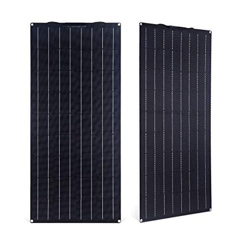 SARONIC 100W ETFE Flex Semi-Flexible Monokristalline PV-Solarmodule für Wohnmobile, Boote, Zelte, Autos, Anhänger, 12V-Batterien oder Andere Unregelmäßige Oberflächen (Schwarz)