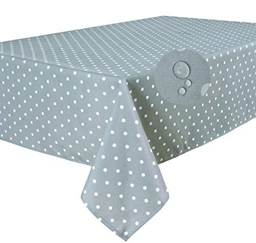 Home Direct Lotuseffekt Fleckschutz Qualitäts Tischdecke Tischtuch Textil Eckig 140 x 180 cm, Punkte Hellgrau