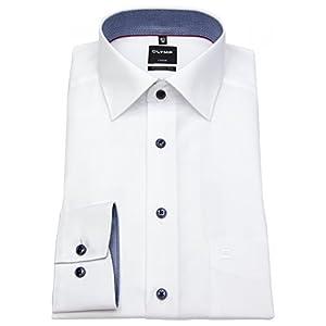 OLYMP, Herren Hemd, Langarm 64cm, Luxor Modern Fit, Weiß, Kragen ausgeputzt, Bügelfrei, 100% Baumwolle, New Kent Kragen