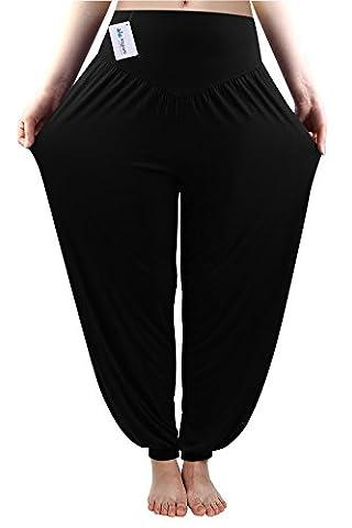 Fitglam Yogahose Haremshose Pumphose Baumwolle Yoga Pants Damen Schwarz