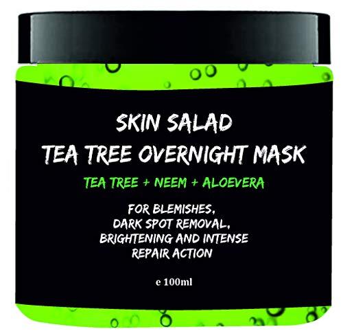 Skinsalad Tea Tree Overnight Face mask with Tea tree, Neem, Aloevera, anti acne gel mask, blemish and dark spot removal, even skin tone, brightening and intense repair 100ml
